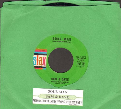 Sam & Dave - Soul Man/When Something Is Wrong With My Baby (with juke box label) - NM9/ - 45 rpm Records