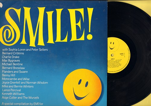 Loren, Sophia & Peter Sellers, Bernard Cribbins, Charlie Drake, Benny Hill, others - Smile!: Goodness Gracious Me, Right Said Fred, Tip-Toe Through The Tulips, Fad Eyed Fal (Vinyl STEREO LP record, 1979 British Pressing of vintage recordings) - NM9/EX8 -
