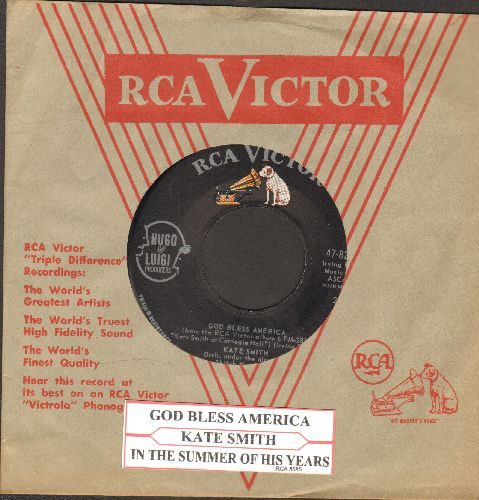 Smith, Kate - God Bless America/In The Summer Of His Years (with juke box label) - NM9/ - 45 rpm Records
