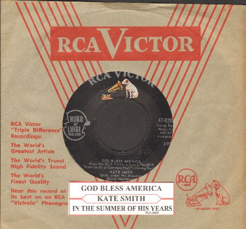 Smith, Kate - God Bless America/In The Summer Of His Years (with juke box label and juke box  sleeve) - NM9/ - 45 rpm Records