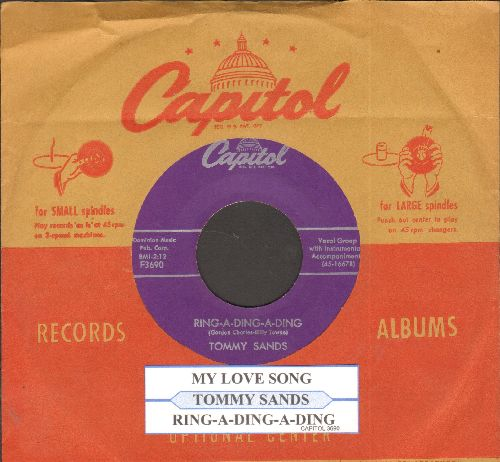 Sands, Tommy - Ring-A-Ding-Ding/My Love Song (with juke box label and Capitol company sleeve) - NM9/ - 45 rpm Records