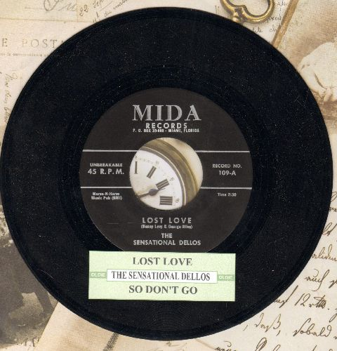 Sensational Dellos - Lost Love/So Don't Go (authentic-looking re-issue of vintage Doo-Wop classic with juke box label) - NM9/ - 45 rpm Records