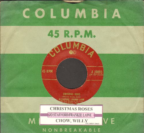Stafford, Jo and Frankie Lane - Christmas Roses/Chow, Willy (with juke box label and vintage Columbia company sleeve) - VG7/ - 45 rpm Records