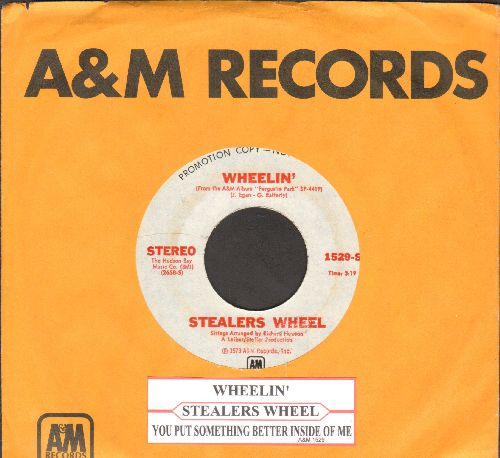 Stealers Wheel  - Wheelin'/You Put Something Better Inside Of Me (DJ advance pressing with juke box label and A&M company sleeve) - NM9/ - 45 rpm Records