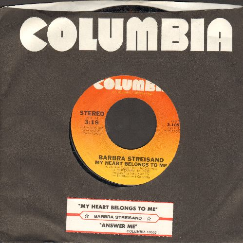 Streisand, Barbra - My Heart Belongs To Me/Answer Me (with juke box label and Columbia company sleeve) - NM9/ - 45 rpm Records