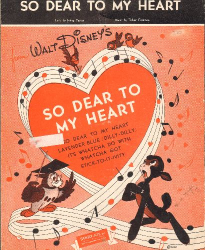 Ives, Burl - So Dear To My Heart - Vintage SHEET MUSIC for the title song of Disney's film, made popular by Burl Ives. - EX8/ - Sheet Music