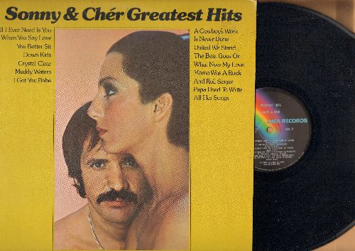 Sonny & Cher - Greatest Hits: I Got You Babe, The Beat Goes On, What Now My Love, Muddy Waters,United We Stand (Vinyl LP record) - NM9/EX8 - LP Records