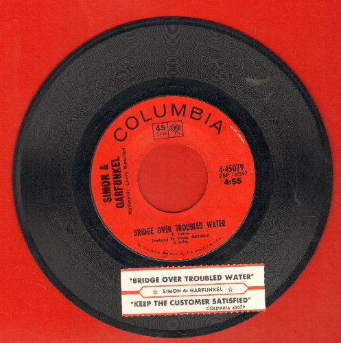 Simon & Garfunkel - Bridge Over Troubled Water (1966 GRAMMY WINNER BEST SONG)/Keep The Customer Satisfied (with juke box label and Columbia company sleeve) - EX8/ - 45 rpm Records