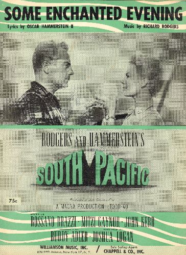 Rodgers & Hammerstein - Some Enchanted Evening - SHEET MUSIC for the Love Ballad from -South Pacific- (NICE cover art featuring Mitzy Gaynor and Rosanno Brazzi!) - NM9/ - Sheet Music