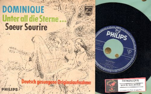 Singing Nun - Dominique/Unter all die Sterne (German Pressing with picture sleeve, sung in German, with French and German lyrics on back of picture sleeve!) - NM9/EX8 - 45 rpm Records