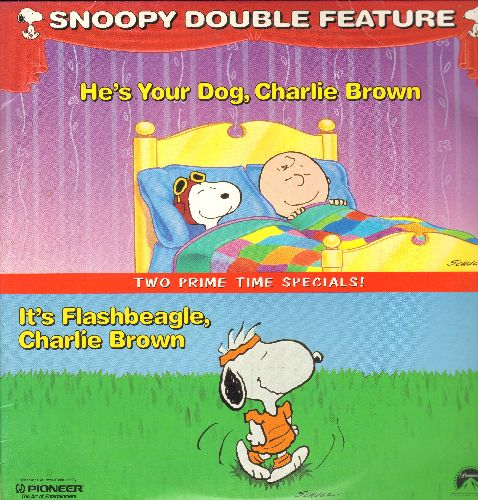 Snoopy Double Feature - Snoopy Double Feature - LASER DISC version of 2 Prime Time Specials: He's Your Dog, Charlie Brown/It's Flashbeagle, Charlie Brown (this is a LASER DISC, not any other kind of media!) - NM9/EX8 - LaserDiscs