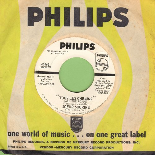 Singing Nun - Tous Les Chemins/Frere Tout L'Monde (DJ advance pressing of OBSCURE follow-up to the World Hit -Dominique- sung in French, with vintage Philips company sleeve)  - M10/ - 45 rpm Records