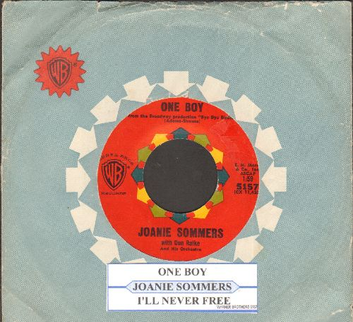Sommers, Joanie - One Boy/I'll Never Be Free (with juke box label and vintage Warner Brothers company sleeve) - EX8/ - 45 rpm Records
