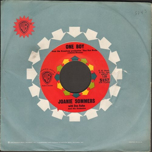 Sommers, Joanie - One Boy/I'll Never Be Free (with vintage Warner Brothers company sleeve) - NM9/ - 45 rpm Records