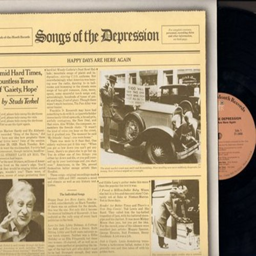Cosa Loma Orchestra, Ruth Etting, Ted Lewis & His Band, others - Songs Of The Depression: Happy Days Are Here Again, A Cottage For Sale, Ten Cents A Dance, We're In The Money (re-issue of vintage recordings on 2 vinyl LP record, gate-fold cover) - M10/NM9