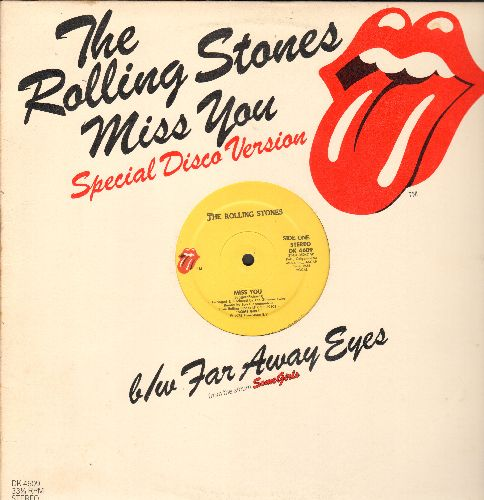 Rolling Stones - Miss You (8:36 minutes Extended Disco Version)/Far Away Eyes (4:24 minutes) (RARE 12 inch vinyl Maxi Single with Rolling Stones picture cover!) - NM9/ - Maxi Singles