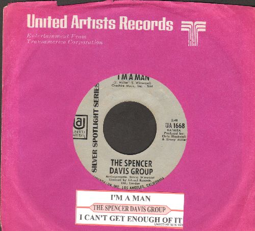 Davis, Spencer Group - I'm A Man/I Can't Get Enough Of It (double-hit re-issue with juke box label and company sleeve) - NM9/ - 45 rpm Records