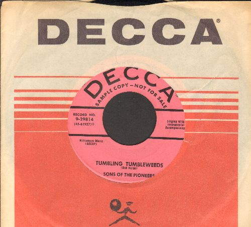 Sons Of The Pioneers - Tumbling Tumbleweeds/Cool Water (DJ advance pressing with Decca company sleeve) - NM9/ - 45 rpm Records