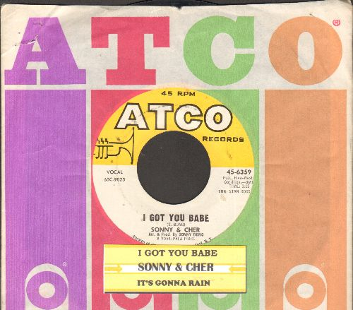 Sonny & Cher - I Got You Babe/It's Gonna Rain (with juke box label and Atco company sleeve) - NM9/ - 45 rpm Records