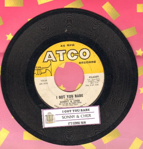 Sonny & Cher - I Got You Babe/It's Gonna Rain (with juke box label) - VG7/ - 45 rpm Records