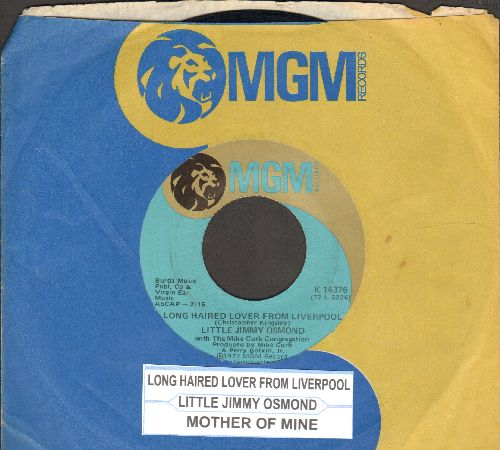 Osmond, Little Jimmy - Long Haired Lover From Liverpool/Mother Of Mine (with MGM company sleeve and juke box label) - NM9/ - 45 rpm Records