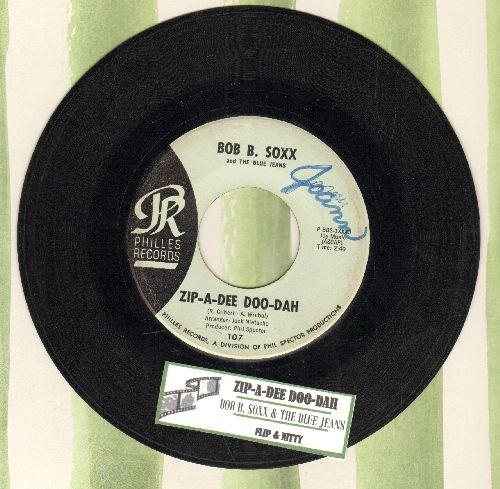 Soxx, Bob B. & The Blue Jeans - Zip-A-Dee Doo-Dah/Flip And Nitty (light blue label early issue with juke box label) (minor wol) - EX8/ - 45 rpm Records