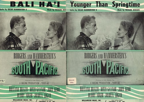 South Pacific Sheet Music - South Pacific - Set of 2 SHEET MUSIC from the Broadway Classic. Includes -Bali Ha'I- and -Younger Than Springtime- BEAUTIFUL cover art featuring stars Rossanno Brazzi and Mitzy Gaynor! - EX8/ - Sheet Music