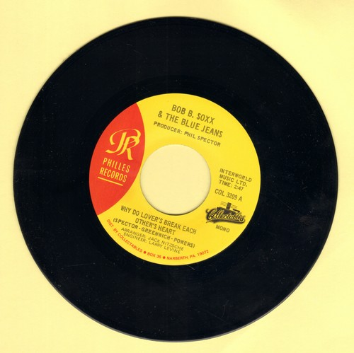 Soxx, Bob B. & The Blue Jeans - Why Do Lovers Break Each Other's Heart?/Zip-A-Dee Doo-Dah (authentic looking re-issue) - NM9/ - 45 rpm Records
