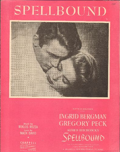 Bergman, Ingrid, Gregory Peck - Spellbound - Vintage SHEET MUSIC for the Love Theme from the Alfred Hitchcock Classic starring Ingrid Bergman and Gregory Peck. NICE cover art of the stars, suitable for framing! - EX8/ - Sheet Music