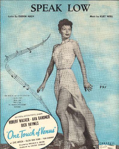 Gardner, Ava - Speak Low - Vintage SHEET MUSIC featuring beautiful portrait of Ava Gardner - EX8/ - Sheet Music