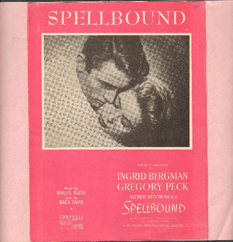 Hitchcock, Alfred, Ingrid Bergman, Gregory Peck - Spellbound - Vintage SHEET MUSIC for the legendary Hitchcock film theme, BEAUTIFUL cover art features stars Ingrid Bergman and Gregory Peck (suitable for framing!) - EX8/ - Sheet Music