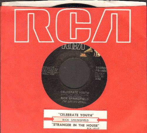 Springfield, Rick - Celebrate Youth/Stranger In The House (with juke box label and RCA company sleeve) - NM9/ - 45 rpm Records