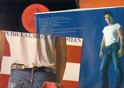 Springsteen, Bruce - Born In The U.S.A.: Cover Me, I'm On Fire, Dancing In The Dark, Glory Days (vinyl STEREO LP record, with original picture inner sleeve and song lyrics sheet) - EX8/EX8 - LP Records