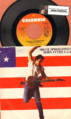 Springsteen, Bruce - Born In The U.S.A./Shut Out The Light (with picture sleeve and song lyrics on back) - EX8/VG7 - 45 rpm Records