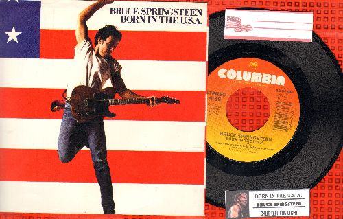 Springsteen, Bruce - Born In The U.S.A./Shut Out The Light (with picture sleeve and juke box label) - NM9/NM9 - 45 rpm Records