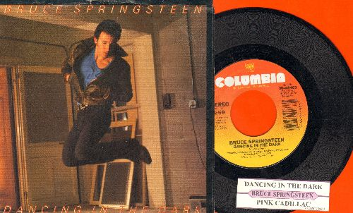 Springsteen, Bruce - Dancing In The Dark/Pink Cadillac (with juke box label and picture sleeve, song lyrics on back) - NM9/EX8 - 45 rpm Records