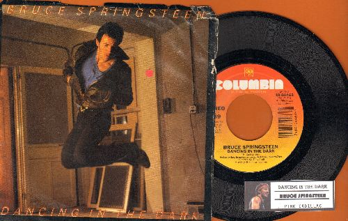 Springsteen, Bruce - Dancing In The Dark/Pink Cadillac (with juke box label and picture sleeve, song lyrics on back) - NM9/VG7 - 45 rpm Records