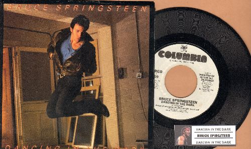 Springsteen, Bruce - Dancing In The Dark (double-A-sided DJ advance pressing with juke box label and picture sleeve, song lyrics on back) - NM9/NM9 - 45 rpm Records
