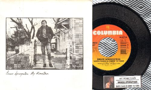 Springsteen, Bruce - My Hometown/Santa Claus Is Comin' To Town (with juke box label and picture sleeve, song lyrics on back) - NM9/NM9 - 45 rpm Records