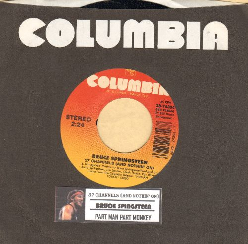 Springsteen, Bruce - 57 Channels (And Nothin' On)/Part Man Part Monkey (with juke box label AND Columbia company sleeve) - M10/ - 45 rpm Records