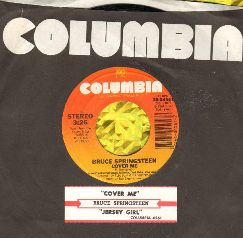 Springsteen, Bruce - Cover Me/Jersey Girl (with juke box label and Columbia company sleeve) - NM9/ - 45 rpm Records
