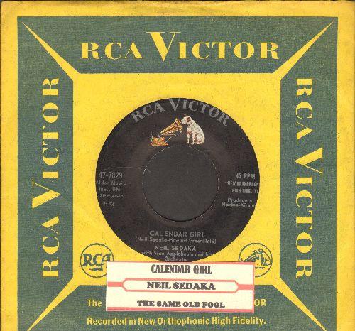 Sedaka, Neil - Calendar Girl/The Same Old Fool (with vintage RCA company sleeve and juke box label) - EX8/ - 45 rpm Records