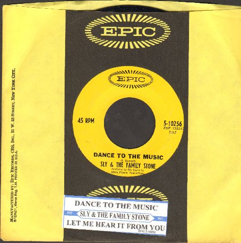 Sly & The Family Stone - Dance To The Music (featured in Disney film -Shrek-)/Let Me Hear It From You (with juke box label and Epic company sleeve) - EX8/ - 45 rpm Records