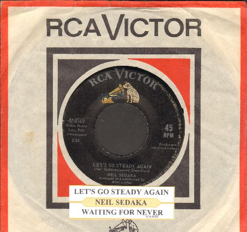 Sedaka, Neil - Let's Go Steady Again/Waiting For Never (La Terza Luna) (with juke box label and RCA company sleeve) - VG7/ - 45 rpm Records