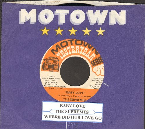 Supremes - Baby Love/Where Did Our Love Go (double-hit re-issue with juke box label and Motown company sleeve) - NM9/ - 45 rpm Records