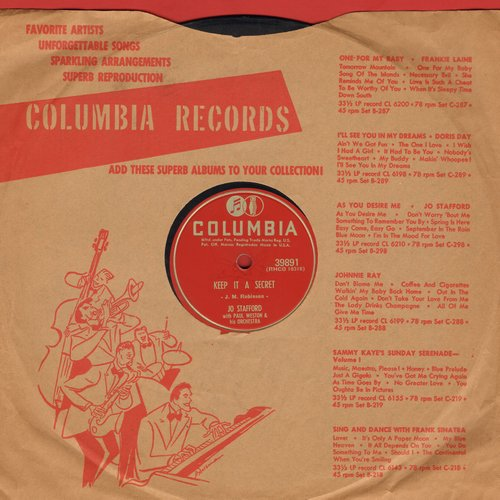 Stafford, Jo - Keep It A Secret/Once To Every Heart (10 inch 78rpm record with Columbia company sleeve) - EX8/ - 45 rpm Records