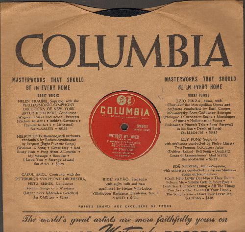 Stafford, Jo - Without My Lover/Smoking My Sad Cigarette (10 inch 78 rpm record with Columbioa company sleeve) - EX8/ - 45 rpm Records