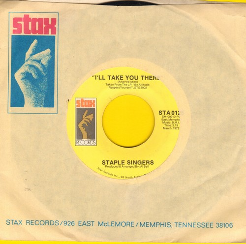 Staple Singers - I'll Take You There/I'm Just Another Soldier (with Stax company sleeve) - NM9/ - 45 rpm Records