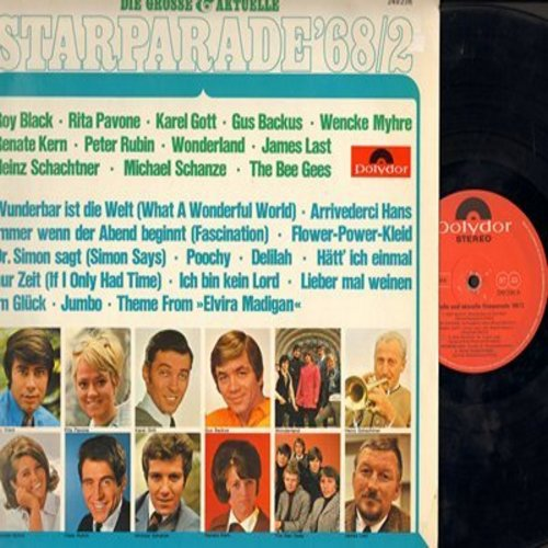 Black, Roy, Rita Pavone, Gus Backus, Wencke Myhre, others - Starparade'68/2: Arrivederci Hans, Dr. Simon sagt, Delilah, Flower-Power Kleid (Vinyl STEREO LP record, German Pressing, sung in German/English/Instrumenal) - EX8/NM9 - LP Records