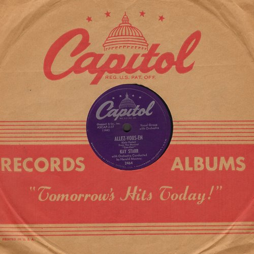 Starr, Kay - Allez-Vous-En/Half A Photograph (10 inch 78 rpm record with Capitol company sleeve) - EX8/ - 78 rpm